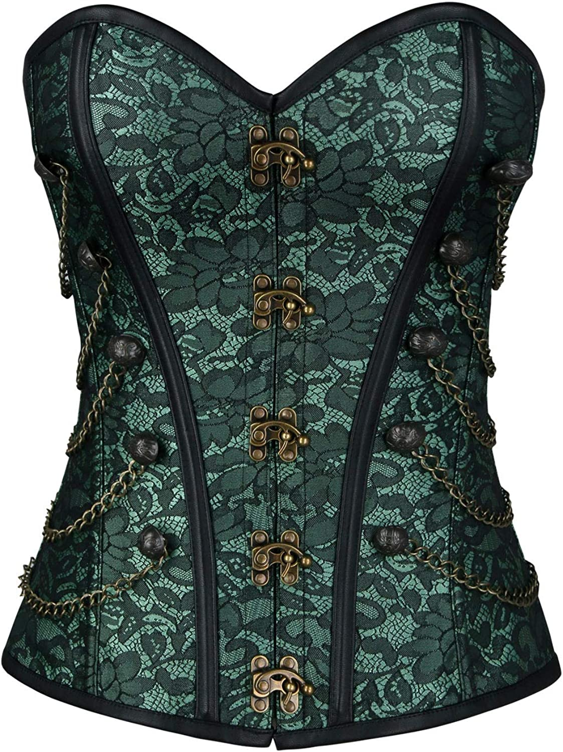 Charmian Womens Spiral Steel Boned Steampunk Gothic Bustier Corset with Chains