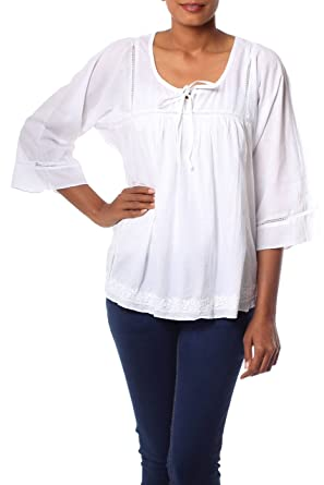 b53c1f7f9e1494 Amazon.com: NOVICA White 100% Cotton Embroidered Smock, Floral Mist ...