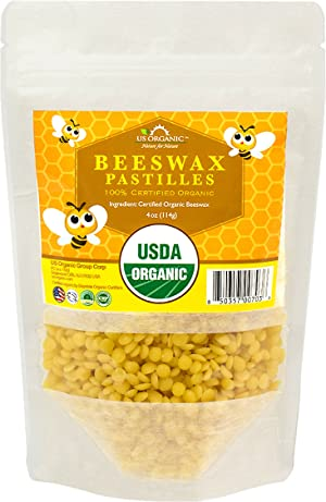 US Organic Beeswax 100% Pure Yellow Pastilles, USDA Certified (4 oz (Small))