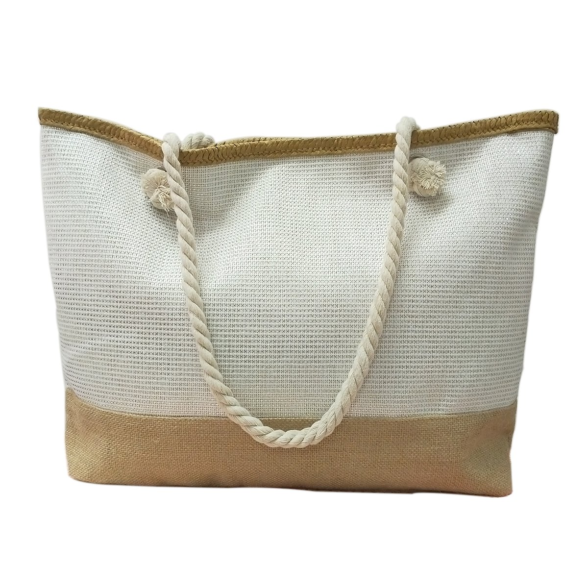 We We Oversize 20''(W) x 16'' (L) x 5''(H) Beach Bag Waterproof Canvas Tote Straw Bag with a Pouch (Style 10)