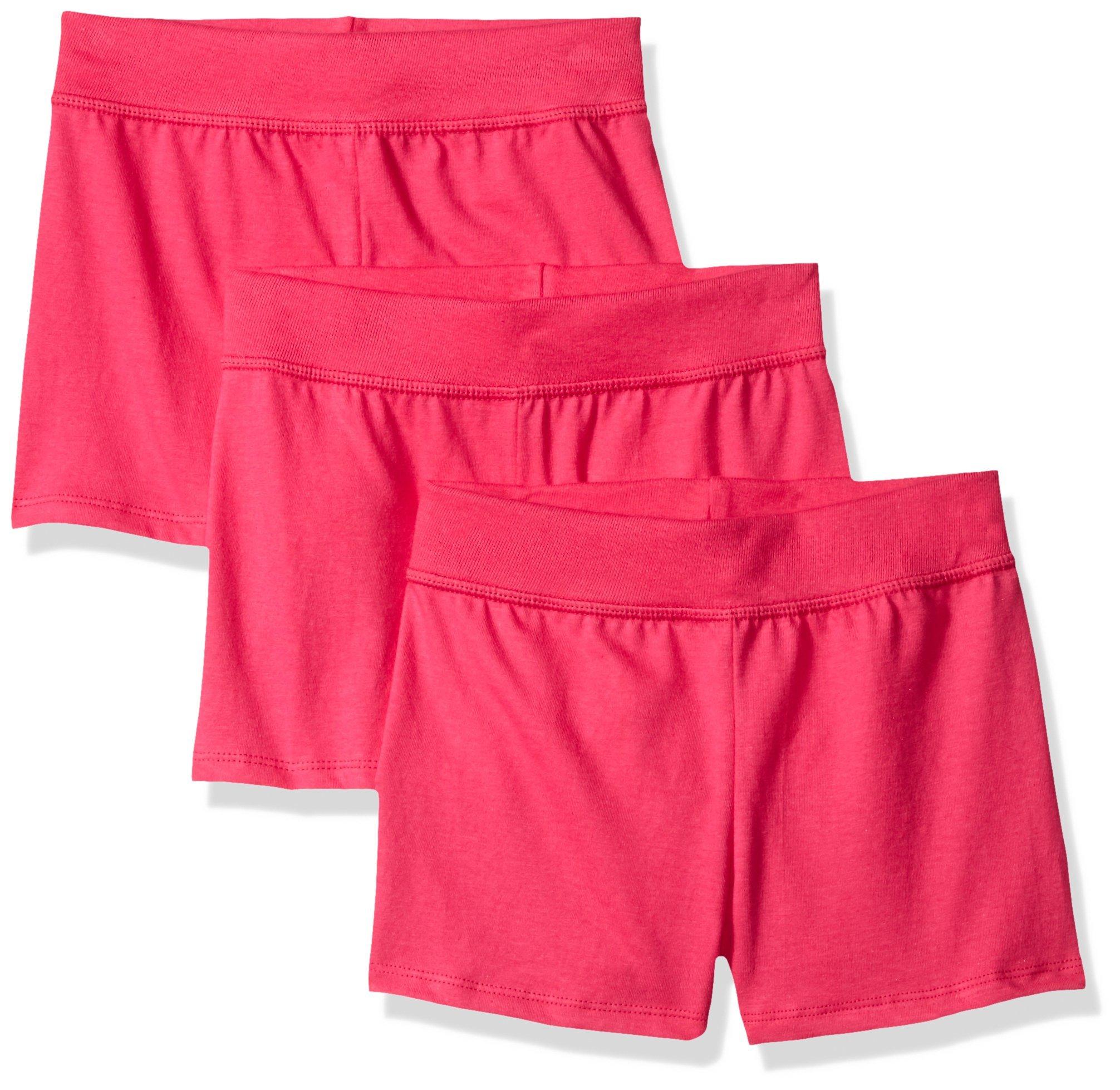 Hanes Little Girls' Jersey Short (Pack of 3), Amaranth, Large