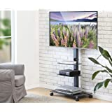 FITUEYES Mobile TV Cart with 3 AV Shelf fit 32-65 inch TV Display for Home Office, Swivel 70 Degree & 6 Level Height Adjustable