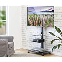 FITUEYES Mobile TV Cart Floor TV Stand with Wheels fit 32''-65'' TV, 3 Shelves TT306503GB