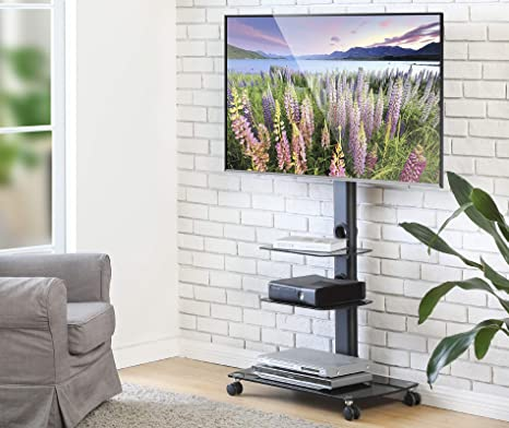 FITUEYES Mobile TV Stand Floor TV Cart with Wheels Display for 32'' to 65  inch LCD LED HD Plasma Flat/Curved TV, 3-Tier Audio Video Shelves TT306503GB