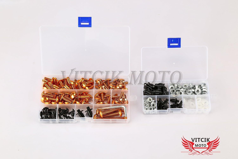 Orange /& Silber VITCIK Verkleidung Kompletter Schraubensatz f/ür VFR 800 RC46 2002-2012 VFR 800 RC 46 02-12 Motorrad Befestigungsmittel CNC-Aluminiumklammern