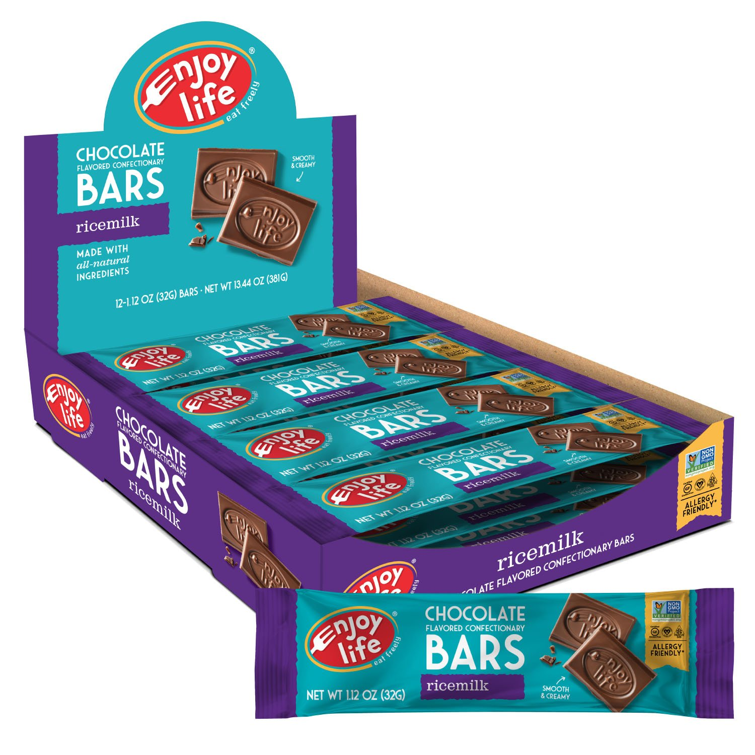 Enjoy Life Ricemilk Boom Chocoboom Bars, Chocolate, Gluten, Dairy, Nut & Soy Free, 1.12 Ounce, 12 Count (Pack of 2)