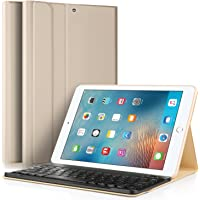 IVSO Apple New iPad 9.7 Teclado Estuche [Teclado QWERTY], Wireless Keyboard Case Funda Ultra fino Slim SmartShell con Magnético Desmontable Teclado Bluetooth Inalámbrico Utilizando Altura ajustable para Apple Nuevo iPad 9.7 2018/2017 Tablet (Oro)