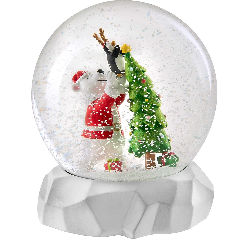 WeRChristmas Polar Bear Musical Snowglobe Christmas Decoration 14cm Multi-Colour