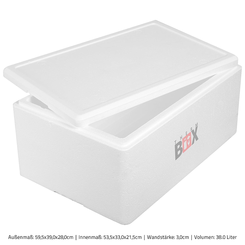 THERM-BOX Caja de Espuma de poliestireno 38W | Interior: 53x33x21cm | Pared: 3,0cm | Volumen: 38L | Caja Aislante Thermobox Caja refrigeradora Caja ...