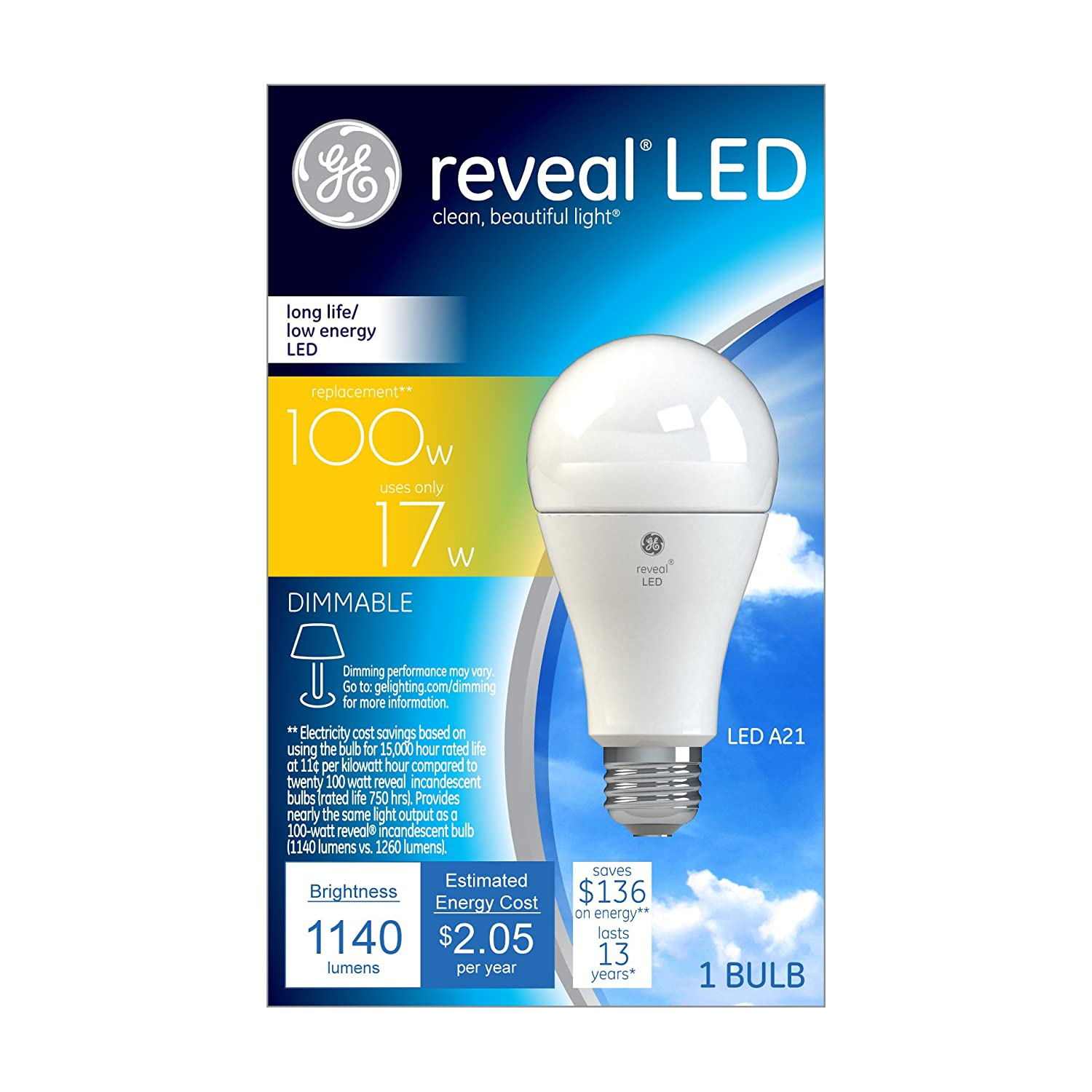 ge lighting reveal dimmable led a21 light bulb with medium