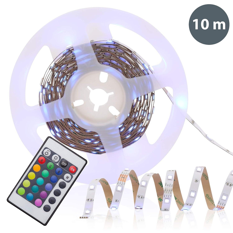 B.K.Licht 10 Meter LED Lichtstreifen Band Farbwechsel dimmbar selbstklebend Lichtleiste BKL1086