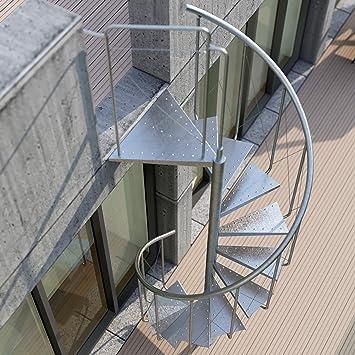 RF Serveis. Escalera de Caracol de Exterior de metal galvanizado. Modelo BCN Pinio. Para una altura de 264 cm. Diámetro 120 cm.: Amazon.es: Bricolaje y herramientas