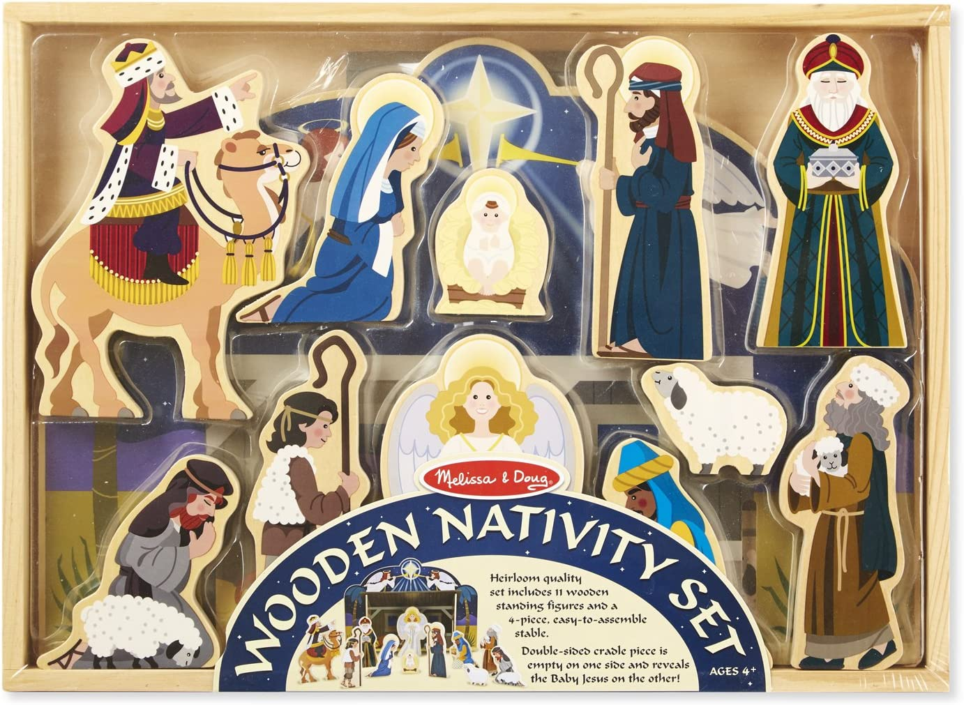 Melissa Doug Classic Wooden Christmas Nativity Set With 4 Piece Stable And 11 Wooden Figures