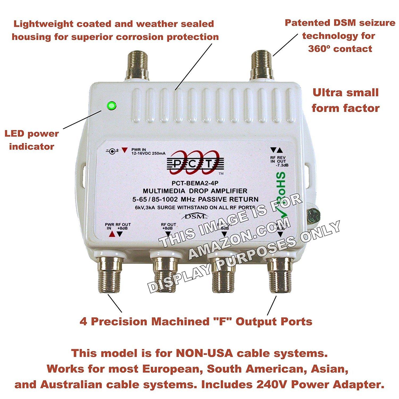 4 Port Cable Tv Hdtv Digital International 240v Power Signal Booster Amplifier Circuit Diagram Supply Internet Modem Amp Home Audio Theater