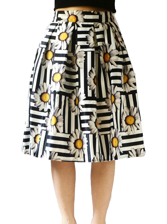 YSJERA Women's High Waist A-Line Pleated Skater Skirt Floral OL Midi Skirts