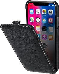 StilGut Custodia per Apple iPhone X/iPhone XS flipcase Verticale in Pelle, Nero