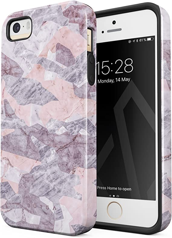 Amazon Com Burga Phone Case Compatible With Iphone 5 5s Se Light Pink Marble Camo Camouflage Fashion Designer Cute Case For Girls Heavy Duty Shockproof Dual Layer Hard Shell Silicone Protective Cover