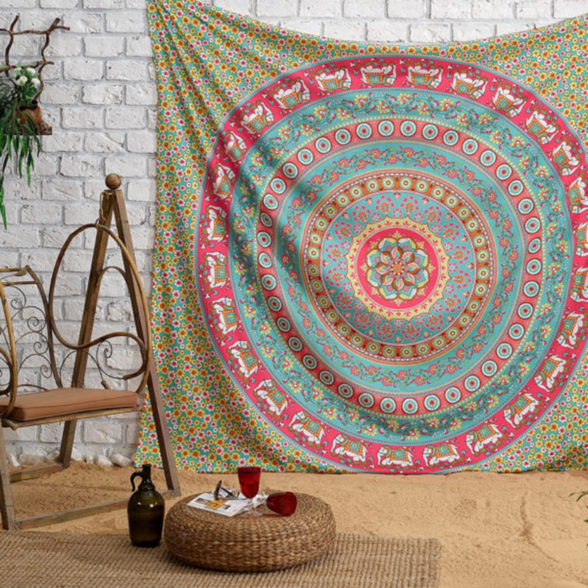 Shukqueen Tapestry, Elephant Tapestry Wall Hanging Hippie Bohemian Mandala Wall Art Dorm Decor 51H x 60W