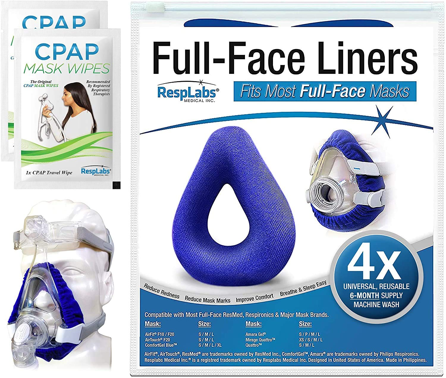 RespLabs CPAP Mask Liners for Full Face Masks - Reusable & Universal Soft Fleece Cover - Compatible with Most CPAP Full Face CPAP Masks, 4 Pack - Includes 2 Travel Wipes and CPAP Comfort Hacks E-Book.