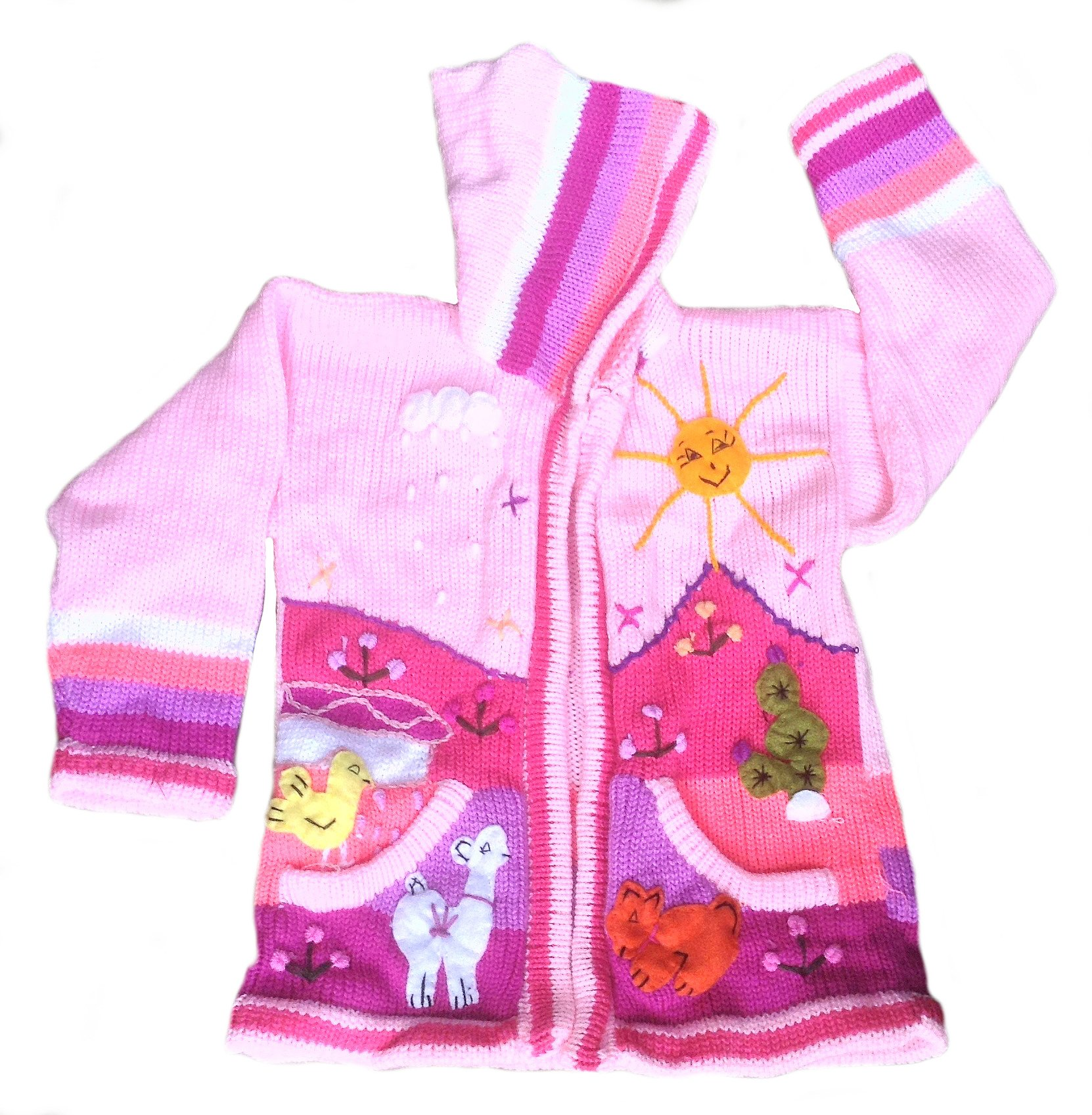 Alpakaandmore Girls Pink Toddler Hooded Cardigan, Peru Hand- Embroidered (4 Years)