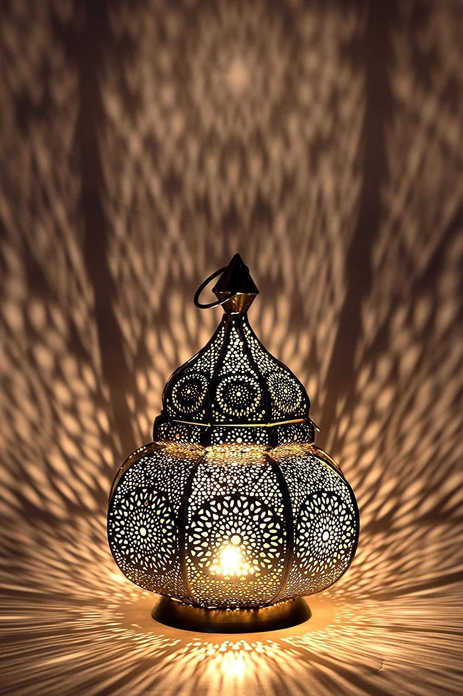 Petite Lanterne marocaine en métal or Ziva 30cm doré   Photophore marocain pour l'extérieur au jardin ou l'intérieur sur la table   Lanternes pour bougie   décoration de maison orientale