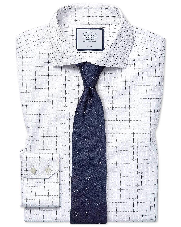 Chemise En Oxford De Coton Stretch Bleue à voiturereaux Et Blanche Extra Slim Fit Sans Repassage   Bleu Blanc (Poignet Simple)   15.5   32
