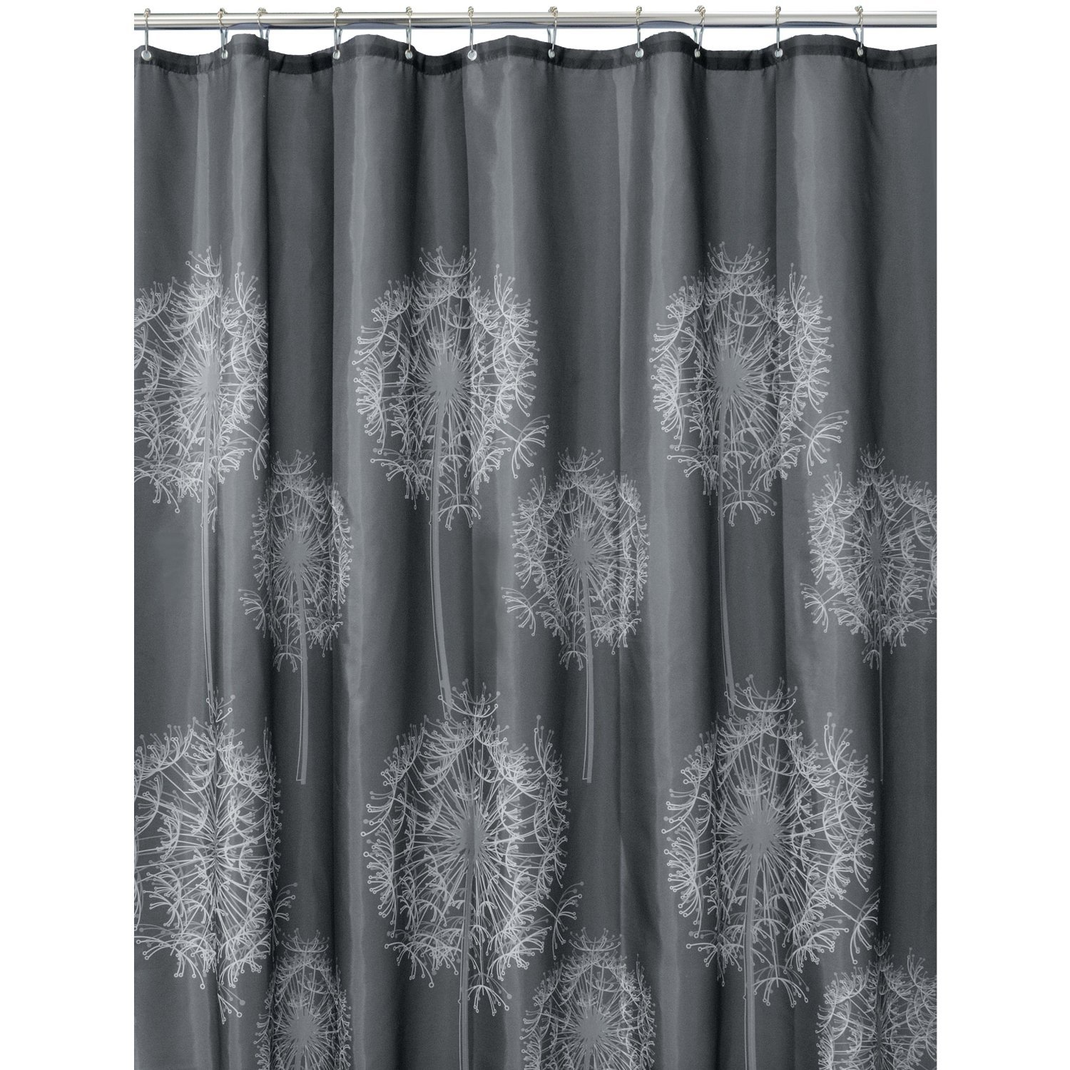 Amazon.com: InterDesign Dandelion Fabric Shower Curtain, 72 x 72, Charcoal:  Home & Kitchen - Amazon.com: InterDesign Dandelion Fabric Shower Curtain, 72 X 72