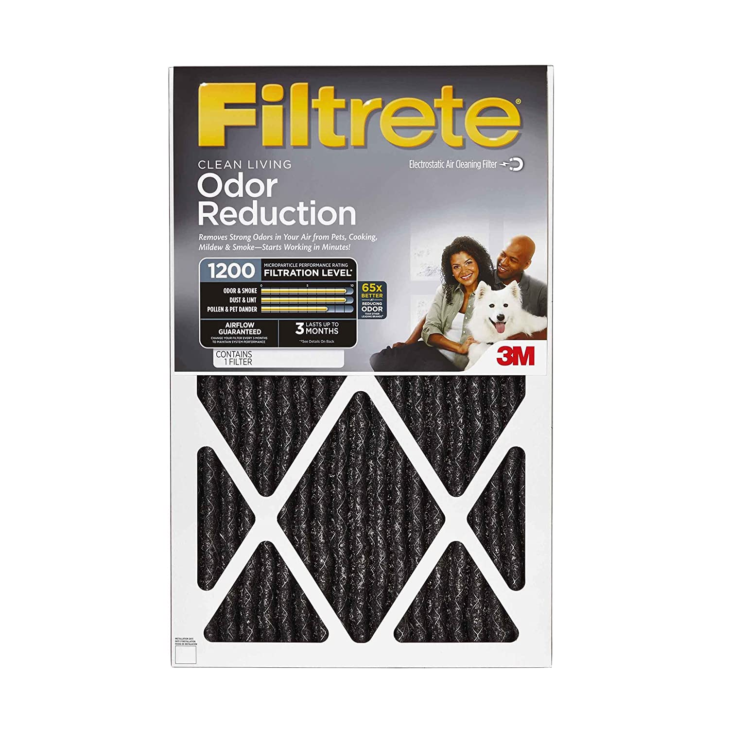 Filtrete Allergen Defense Odor Reduction AC Furnace Air Filter, MPR 1200, 20 x 20 x 1-Inches, 2-Pack AOR02-2PK-6E