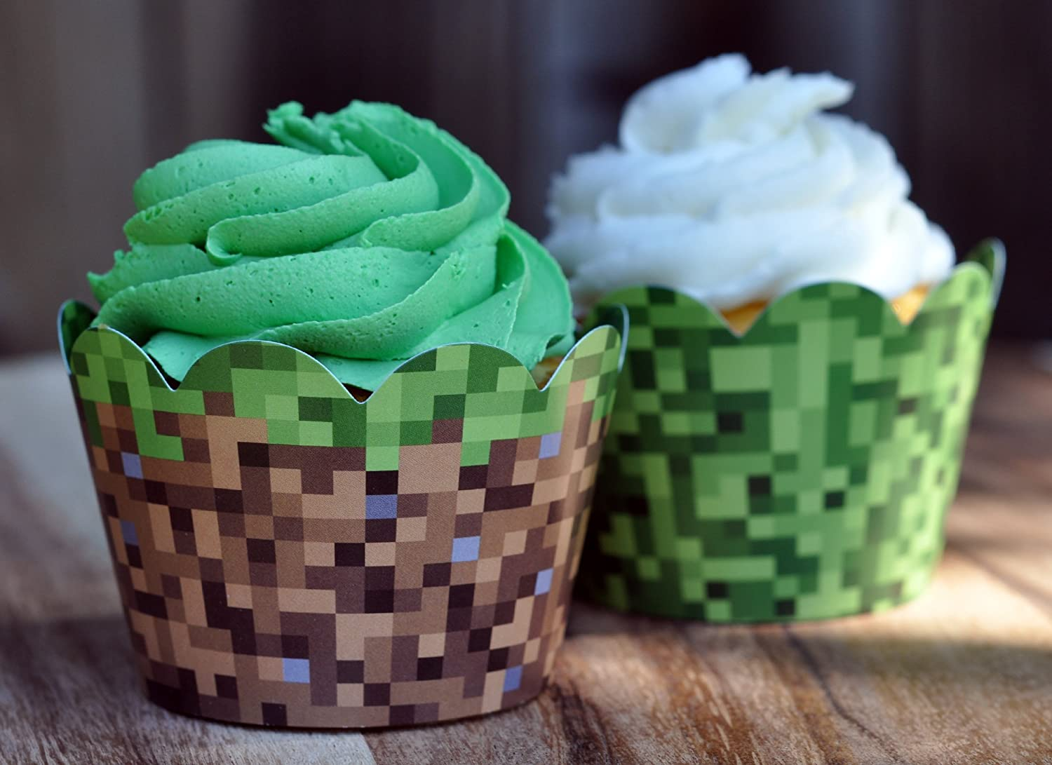 Miner Themed Pixel Grass Cupcake Wrappers For Boys Birthday Parties Vintage 8 Bit Birthday Party Set Of 24 Reversible Engineer Grass And Green Pixel