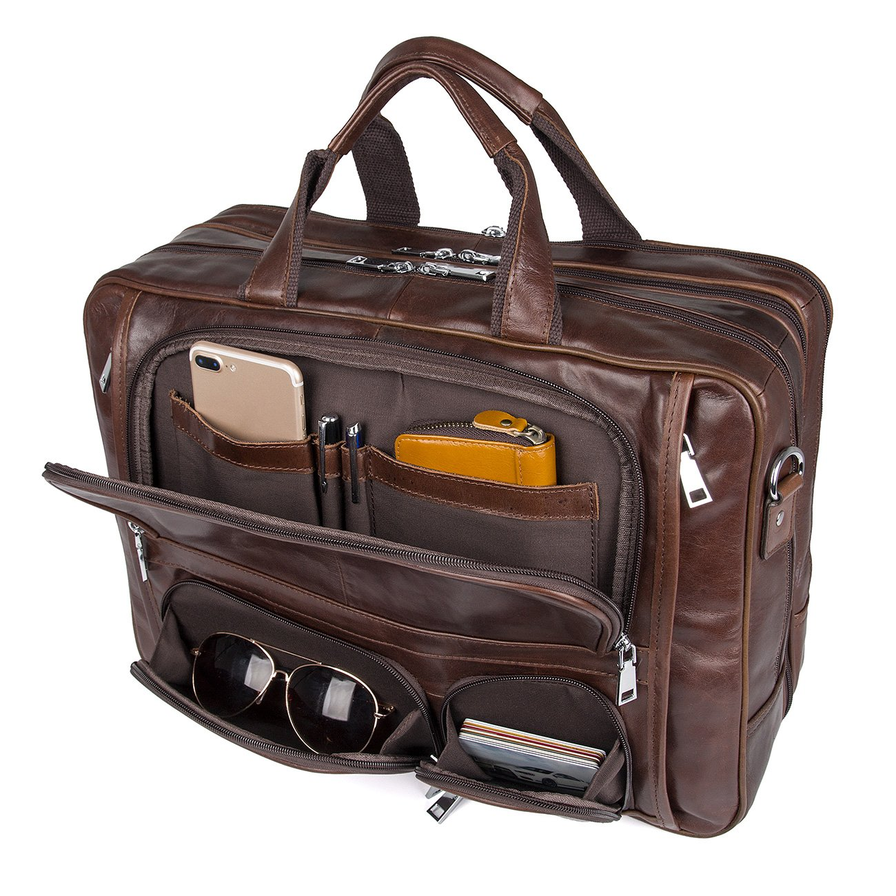 Image of Augus Business Travel Briefcase Genuine Leather Duffel Bags for Men Laptop Bag fits 15.6 inches Laptop Luggage