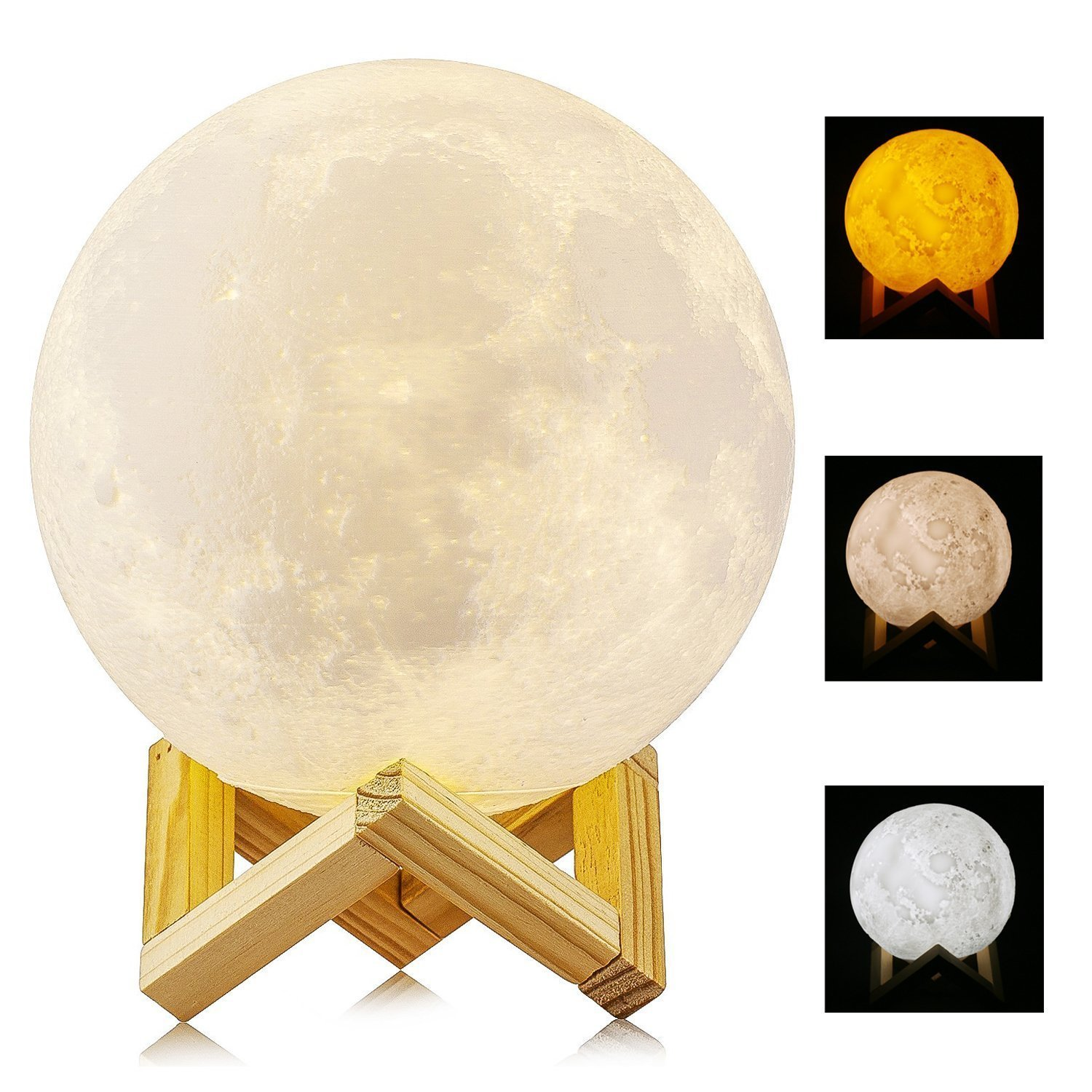 Moon Lamp, Wowlite 3D Printing Moonlight Lamp, Dimmable with USB Charging, Touch Control, Rechargeable 5.9 Inch Night Lamp Home Decorative Night Light for Kid Bedroom