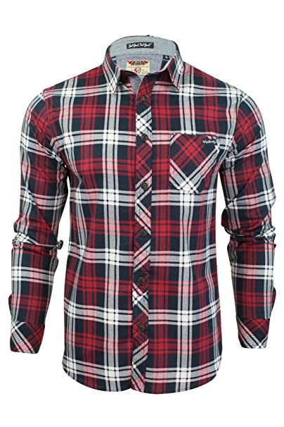 Tokyo Laundry - Camisa de Manga Larga a Cuadros para Hombre Rojo Rojo  Oscuro Small 56ca528e19102