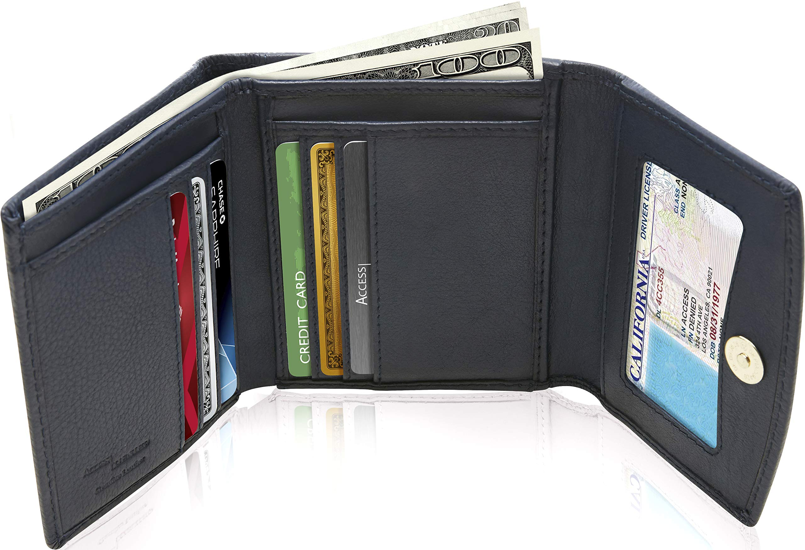 Small Trifold Wallets For Women RFID Blocking - Genuine Leather Credit Card Holder With Coin Purse