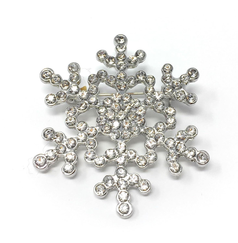 *UK* Silver-Tone Rhinestone Snowflake Brooch 3.7 x 3.7cm Clear Rhinestone Christmas Pin Frozen Snow Cadoline CB15