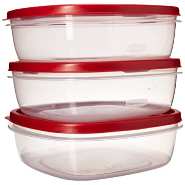 Rubbermaid BHBAZUSM21M089 085275709247 7J71 Easy Find Lid Square 9-Cup Food Storage (Pack of 3 Containers), Red