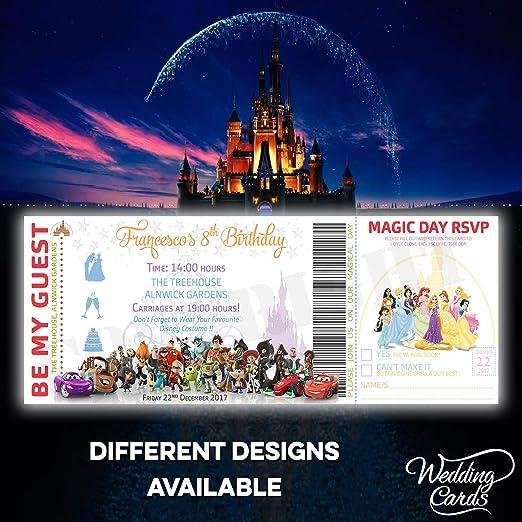 Tarjetas De Boda De Disney Cumpleaños Ticket Invitaciones