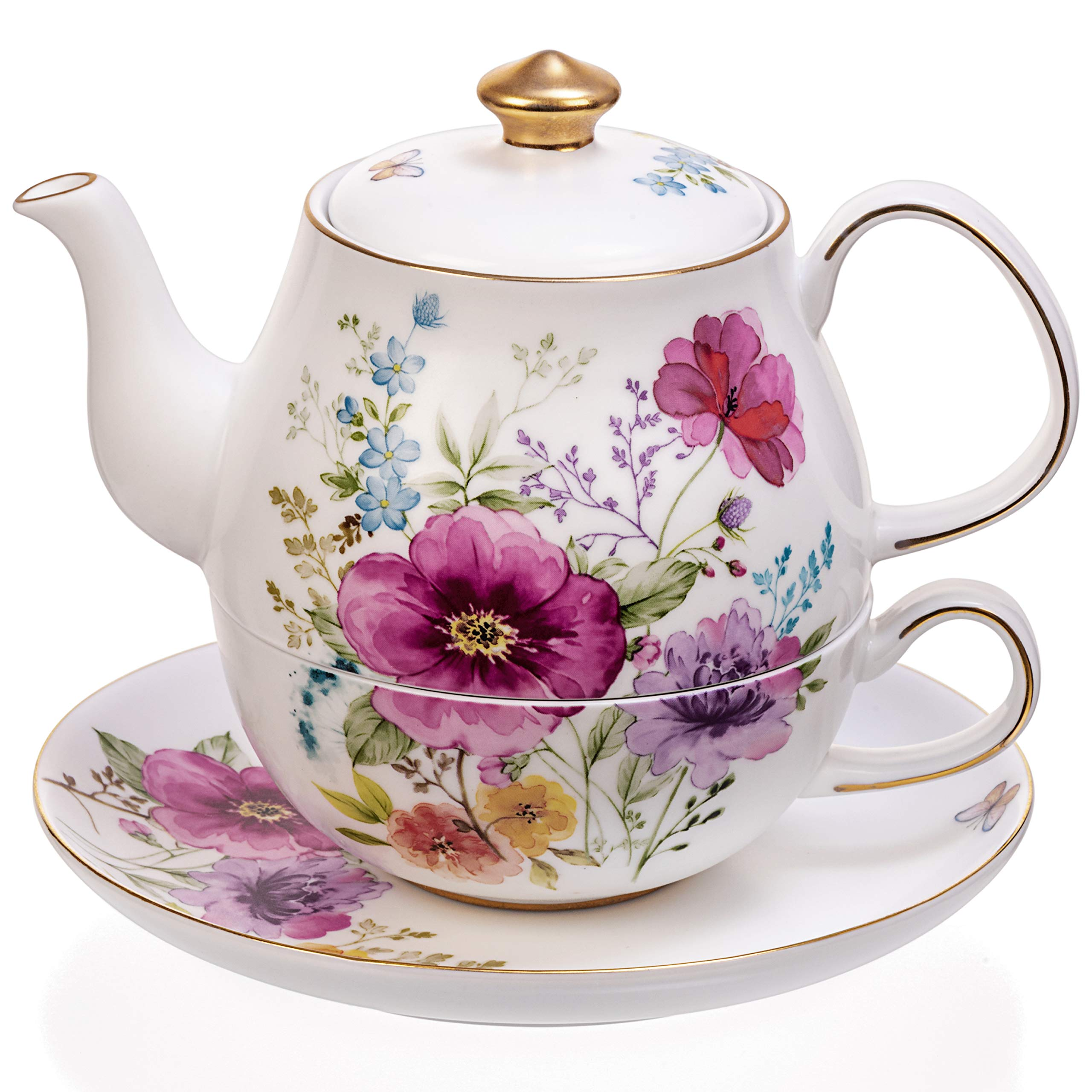 Tealyra - Tea for One Porcelain Flowers and Gold Trim Set - Teapot 17-ounce Cup and Saucers - Real Gold Plated - Flower English Modern Style - Bee Style Spout Filter for Loose Leaf Tea
