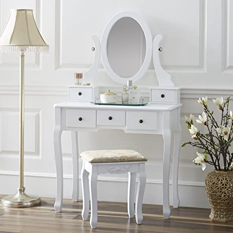 Amazon.com: Fineboard Single Mirror Dressing Table Set, Five ...