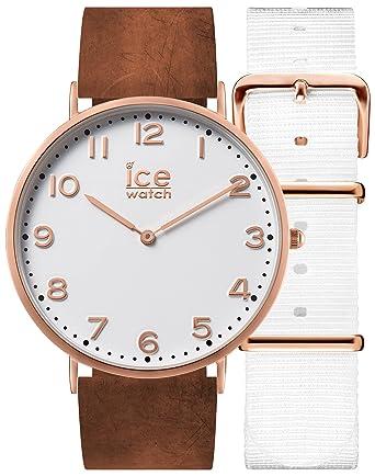Ice,Watch , City Whitechapel , Montre Marron pour Femme avec Bracelet en  Cuir + Bracelet Nylon Supplémentaire