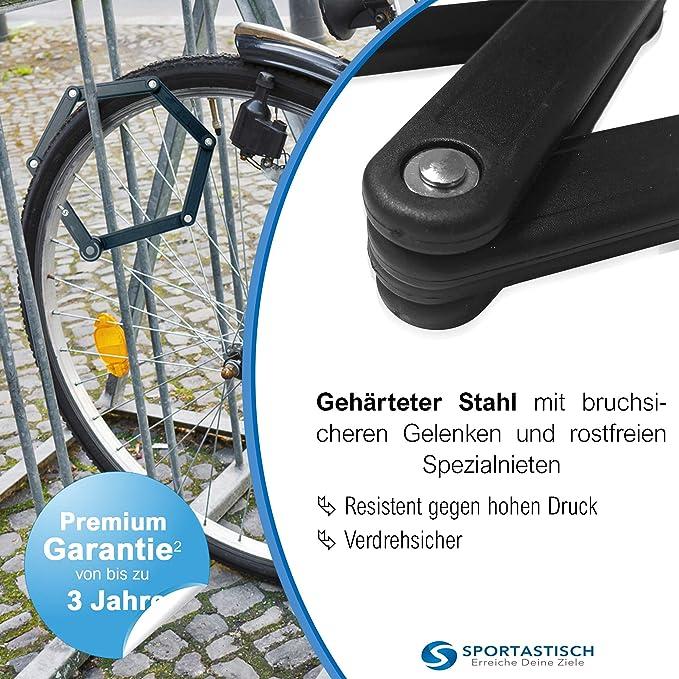 Sportastisch Top¹ Candado de bicicleta Fold & Hold con llaves y soporte   Cerradura bici plegable & dura con alta seguridad   Bloqueo antirrobo para ...