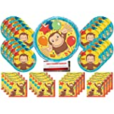 Curious George Monkey Birthday Party Supplies Bundle Pack for 16 Guests with Large 18 Inch Balloon (Plus Party Planning Check
