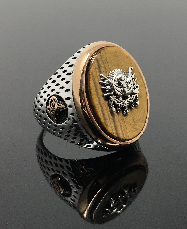 KAR 925K Stamped Sterling Silver Tiger Eye Turkish Ottoman Sultan Mens Ring K43F