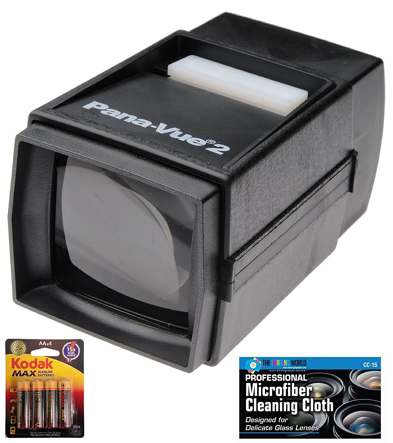 Pana-Vue 2 Illuminated Slide Viewer + AA Batteries + Microfiber Cleaning Cloth The Imaging World PV2 K1