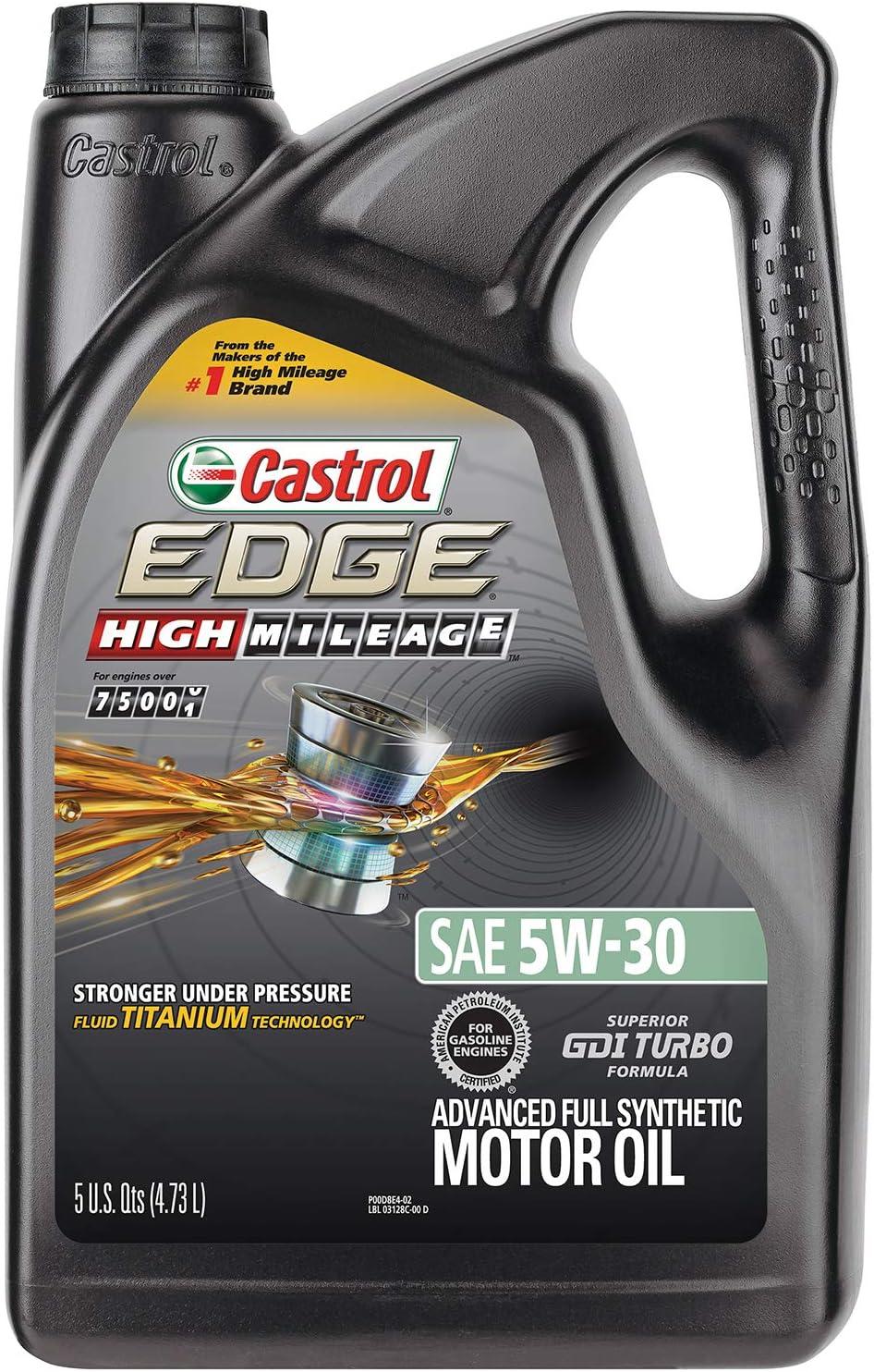 Castrol 03128C EDGE High Mileage 5W-30 Advanced Full Synthetic Motor Oil, 5 quart,Black