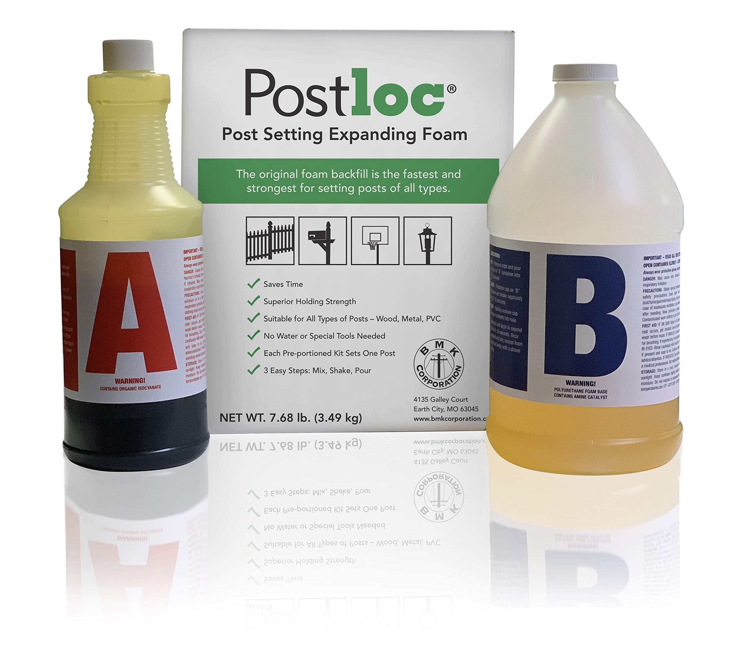 Postloc Post Setting Expanding Foam - 2-Post Kit - Easy-to-Use Concrete Alternative - No Tools Required by Postloc