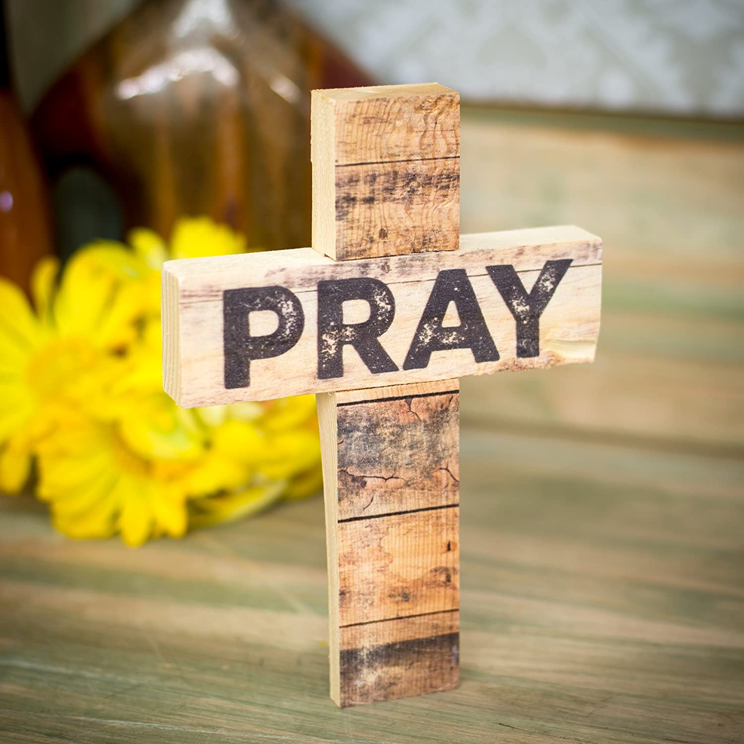 Amazon.com: PRAY Distressed Look 7 x 5 Wood Wall Art Cross Plaque ...