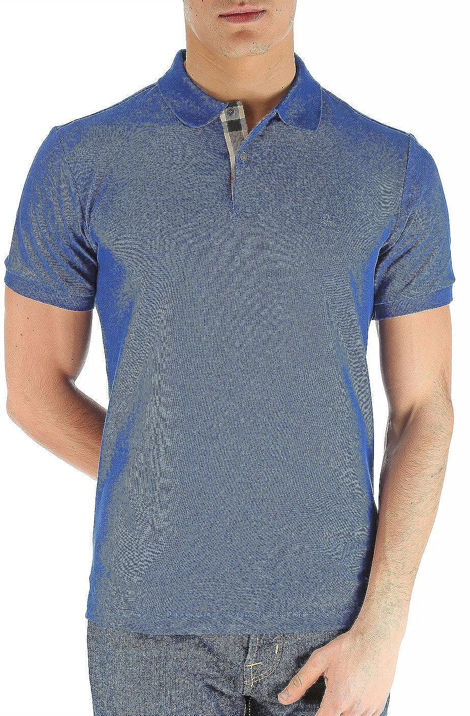 Burberry Brit Men s Check Placket Pique Bright Navy Blue Polo Shirt Modern  Fit (X-Large)  Amazon.co.uk  Clothing 1323c55882a4