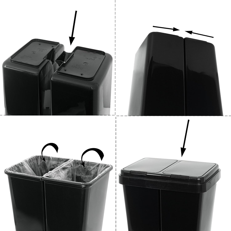 Grizzly Cubo de Basura 2 Compartimentos Doble contenedor con Separador con Capacidad de 2 x 25 l Antracita
