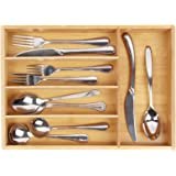 Utensil Cutlery Tray Bamboo wooden Drawer Dividers 5 Compartments Silverware Organizer Kitchen Storage Holder for Flatware Knives Forks Spoons Accessories or Gadgets by BAMBUROBA