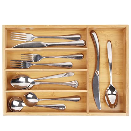 Beau Utensil Cutlery Tray Bamboo Wooden Drawer Dividers 5 Compartments  Silverware Organizer Kitchen Storage Holder For Flatware